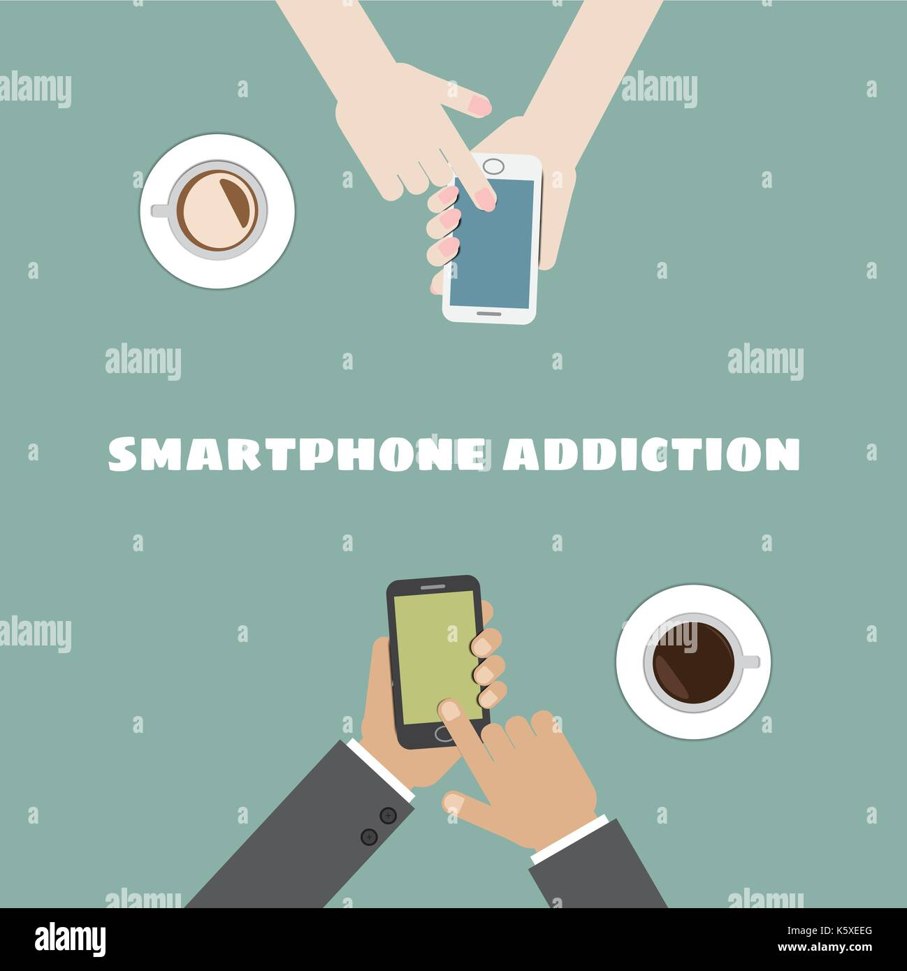 smartphone addiction - Stock Image