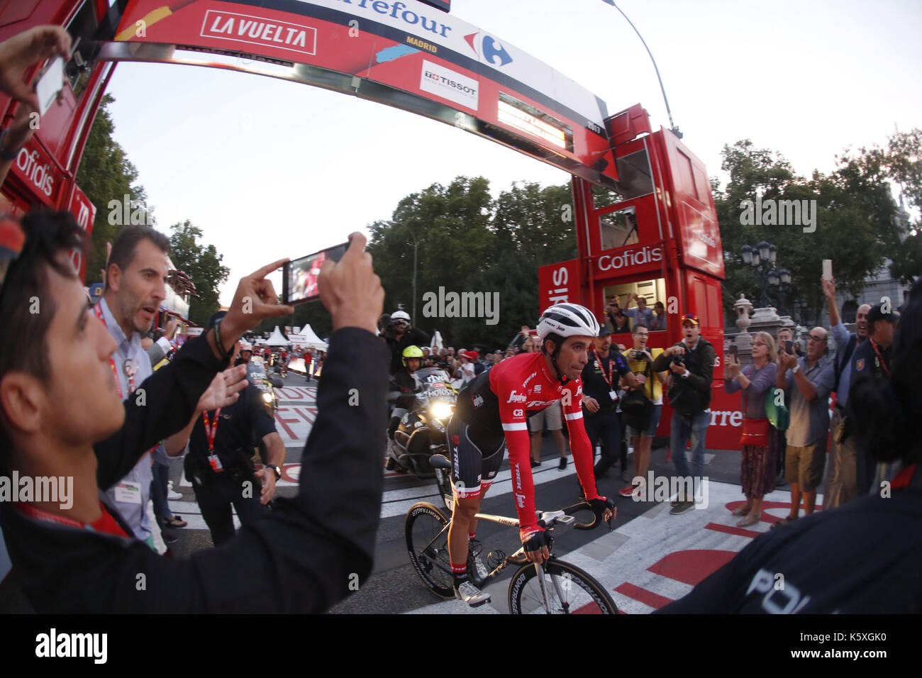 74619585a Spanish cyclist Alberto Contador of Trek crosses the finish line of Spain s  Cycling Tour 2017