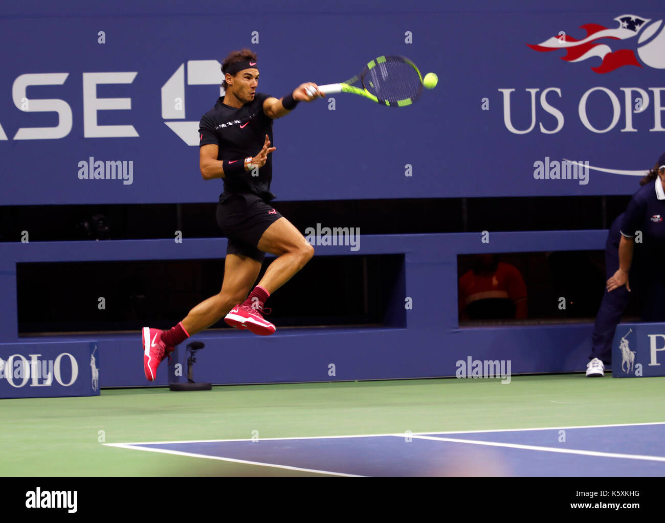 New York, United States. 10th Sep, 2017. US Open Tennis: New York, 10 September, 2017 - Rafael Nadal of Spain goes - Stock Image