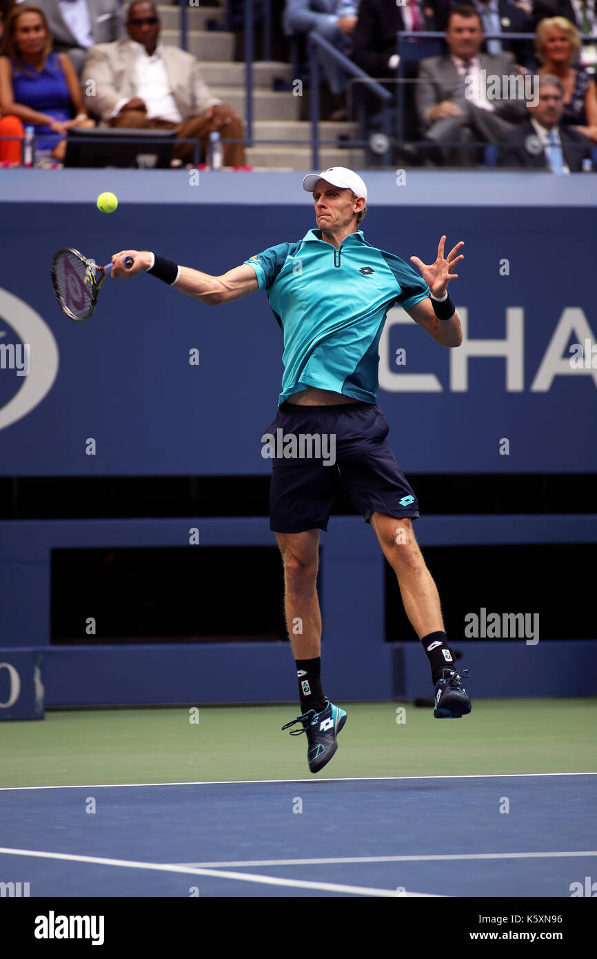 New York, United States. 10th Sep, 2017. US Open Tennis: New York, 10 September, 2017 - Kevin Anderson of South Africa fires a forehand to Rafael Nadal of Spain during the US Open Men's singles final in Flushing Meadows, New York. Nadal won the match in three sets to win the title Credit: Adam Stoltman/Alamy Live News - Stock Image