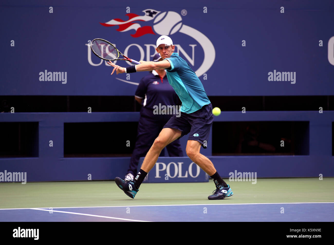 New York, United States. 10th Sep, 2017. US Open Tennis: New York, 10 September, 2017 - Kevin Anderson of South Africa sets up a forehand to Rafael Nadal of Spain during the US Open Men's singles final in Flushing Meadows, New York. Nadal won the match in three sets to win the title Credit: Adam Stoltman/Alamy Live News - Stock Image