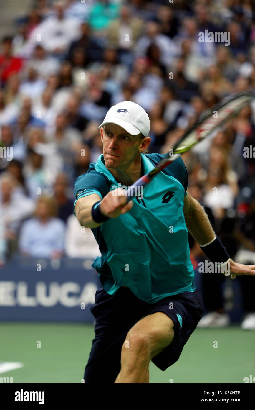 New York, United States. 10th Sep, 2017. US Open Tennis: New York, 10 September, 2017 - Kevin Anderson of South Africa reaches for a backhand return to Rafael Nadal of Spain during the US Open Men's singles final in Flushing Meadows, New York. Nadal won the match in three sets to win the title Credit: Adam Stoltman/Alamy Live News - Stock Image