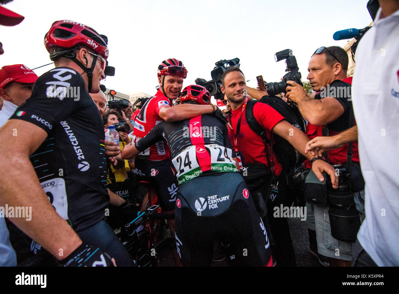 Madrid, Spain. 10th September, 2017. Chris Froome (Team Sky) celebrates his victory at Tour of Spain (Vuelta a España) between Madrid and Madrid on September 10, 2017 in Madrid, Spain. ©David Gato/Alamy Live News - Stock Image