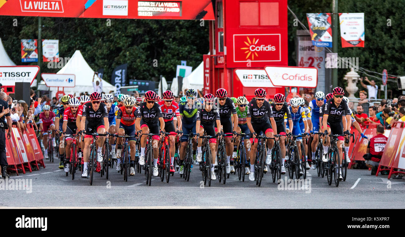 Madrid, Spain. 10th September, 2017. Peloton rides  during the stage 21 of Tour of Spain (Vuelta a España) between Madrid and Madrid on September 10, 2017 in Madrid, Spain. ©David Gato/Alamy Live News - Stock Image