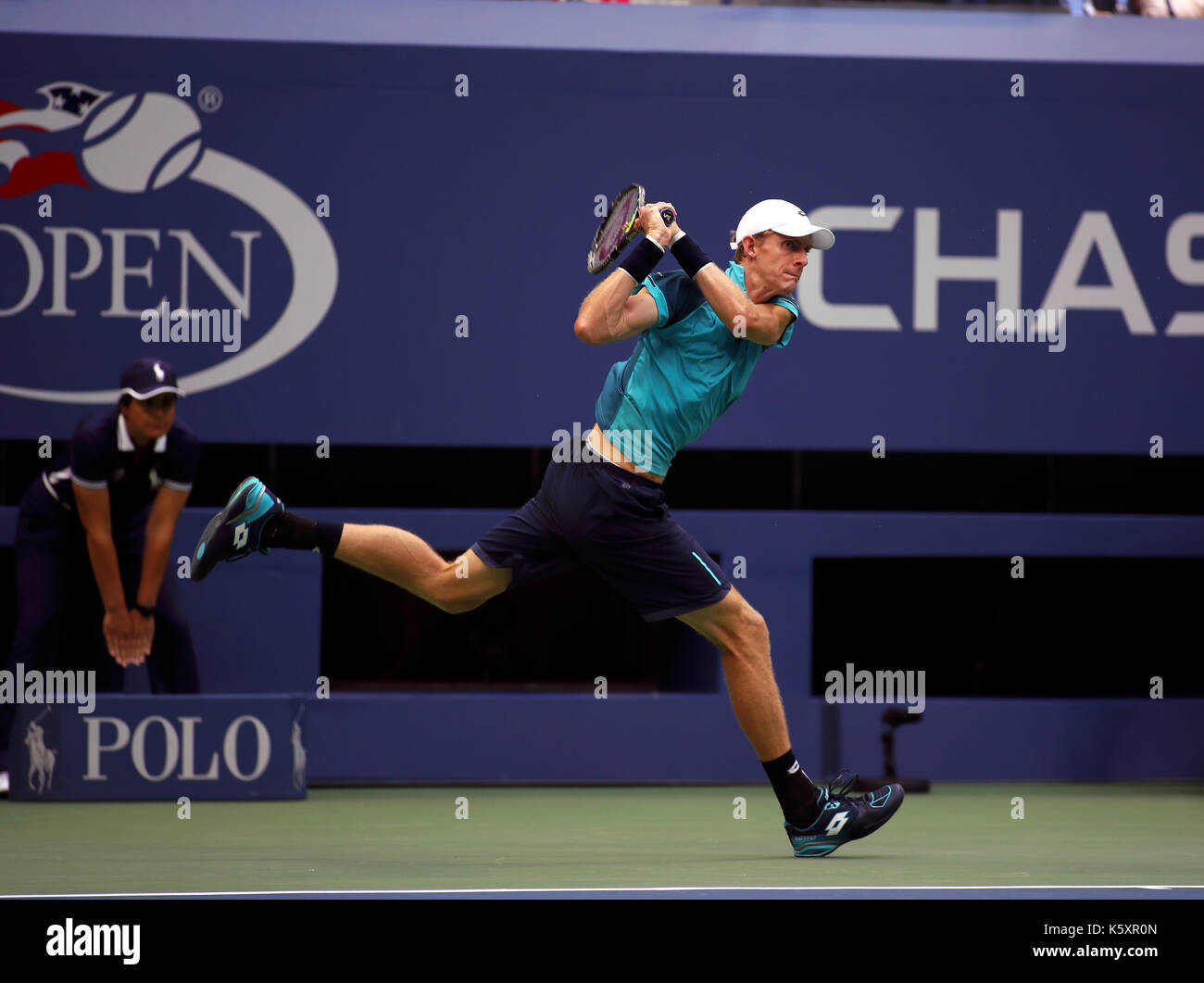 New York, United States. 10th Sep, 2017. US Open Tennis: New York, 10 September, 2017 - Kevin Anderson of South Africa follows through on a backhand return to Rafael Nadal of Spain during the US Open Men's singles final in Flushing Meadows, New York. Nadal won the match in three sets to win the title Credit: Adam Stoltman/Alamy Live News - Stock Image