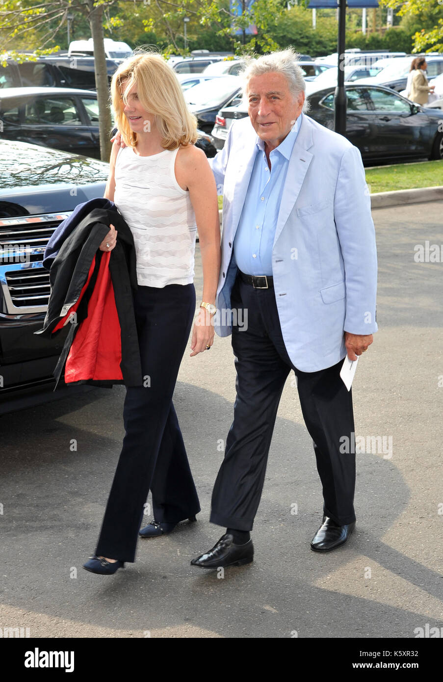FLUSHING NY- SEPTEMBER 10: Susan Crow and Tony Bennett at the US Open Men's Final Championship match at the USTA Billie Jean King National Tennis Center on September 10, 2017 in Flushing, Queens. Credit: John Palmer/MediaPunch - Stock Image