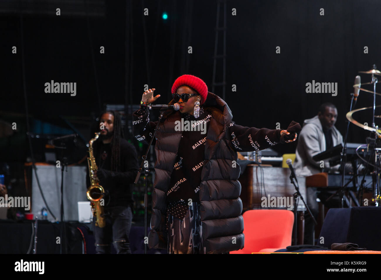Toronto, Canada. 10th September 2017. Lauryn Hill performs at the Budweiser Stage in Toronto, on her co-headling Stock Photo