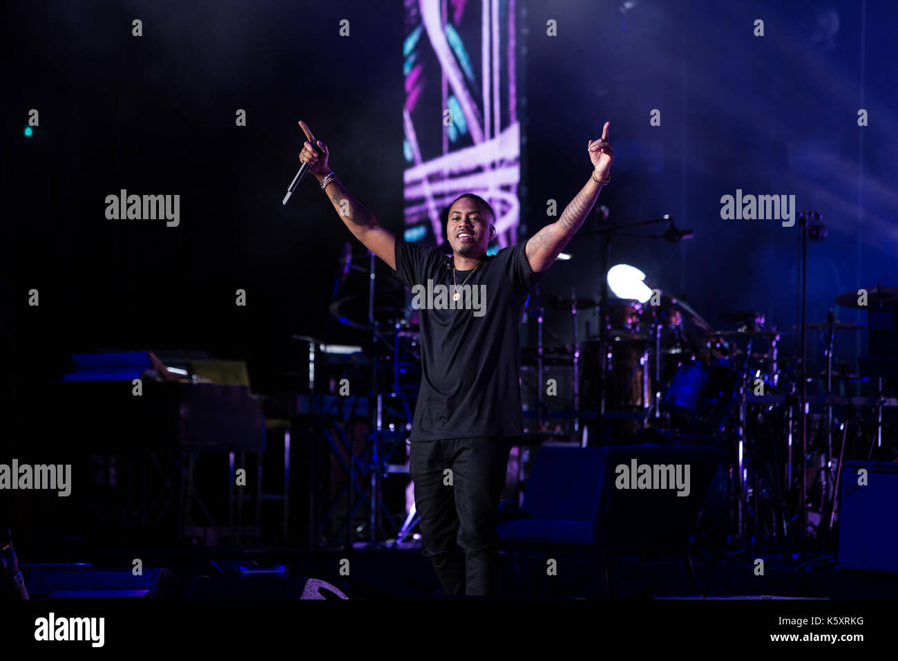 Toronto, Canada. 10th September 2017. NAS performs at the Budweiser Stage in Toronto, on his co-headling tour with Ms. Lauryn Hill. Credit: Bobby Singh/Alamy Live News - Stock Image