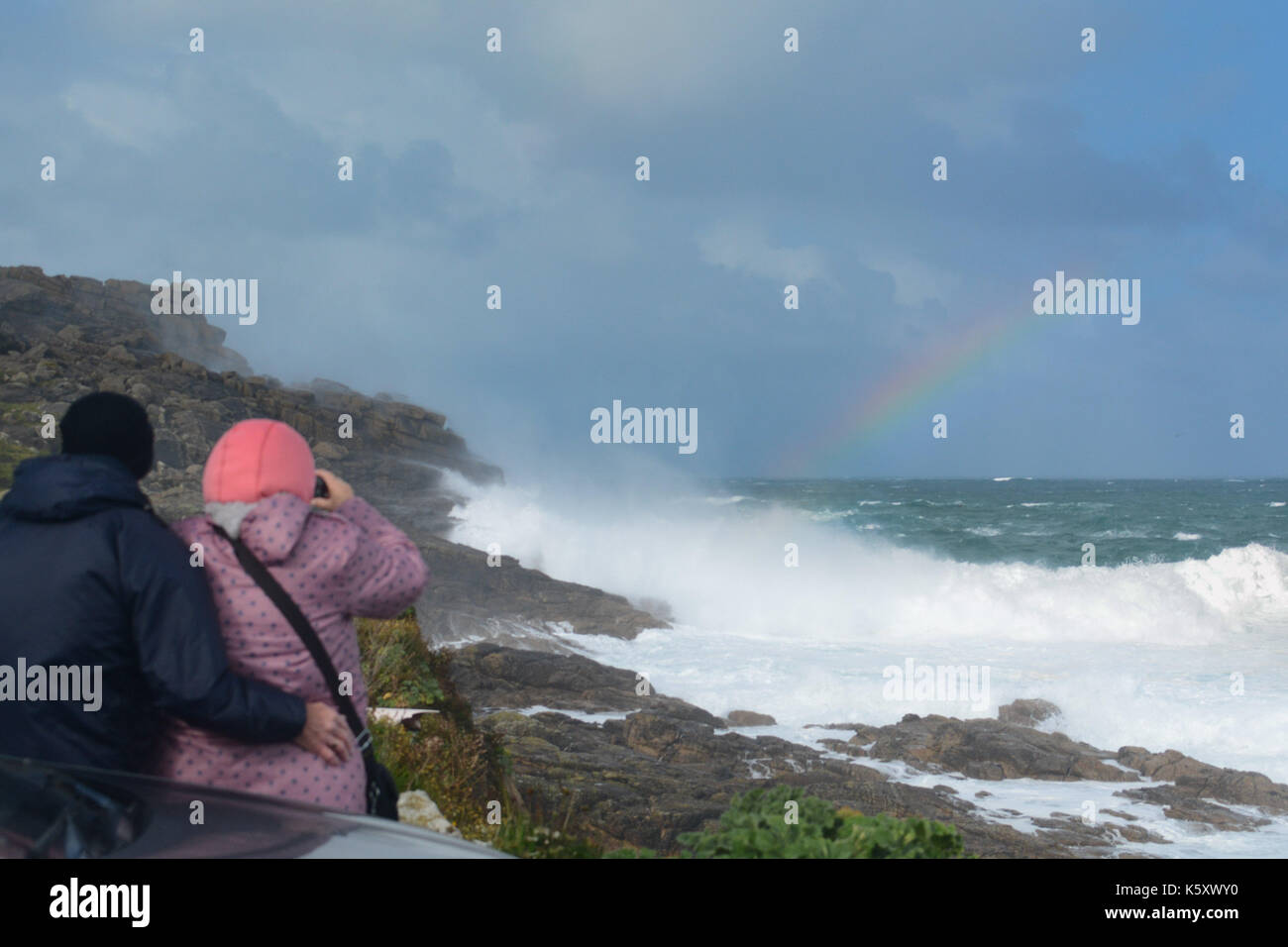 Sennen, Cornwall, UK. 11th Sep, 2017. UK Weather. Winds gusting upto 50 mph at Sennen Cove in north west Cornwall. Stock Photo