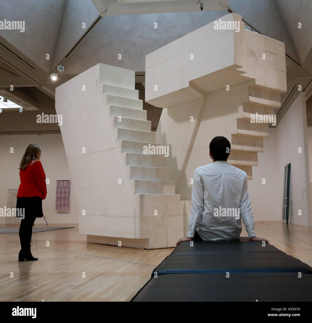 London, UK. 11th Sept, 2017. Members of staff looks at 'Untitled (Stairs)' 2001. One of the leading artists of her Stock Photo