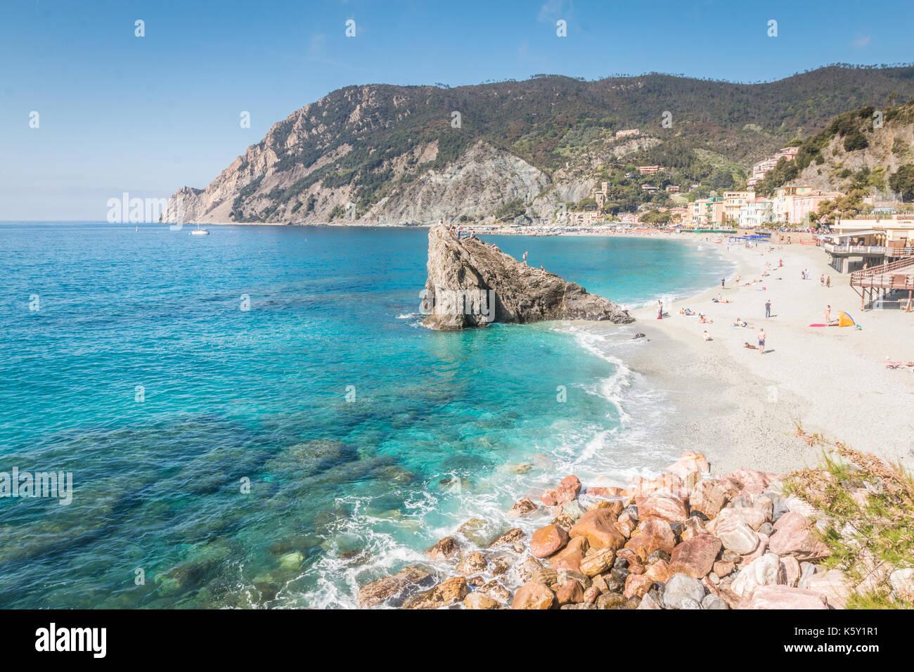 Monterosso al Mare beach, Cinque Terre, Italy Stock Photo