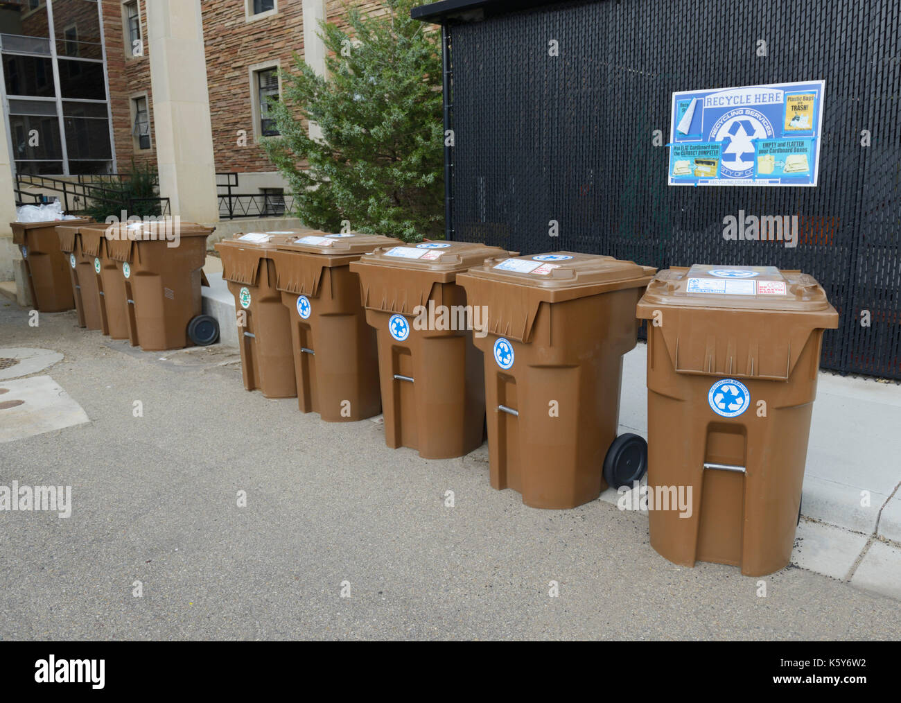 Recycle bins on a college campus, Boulder, CO Stock Photo