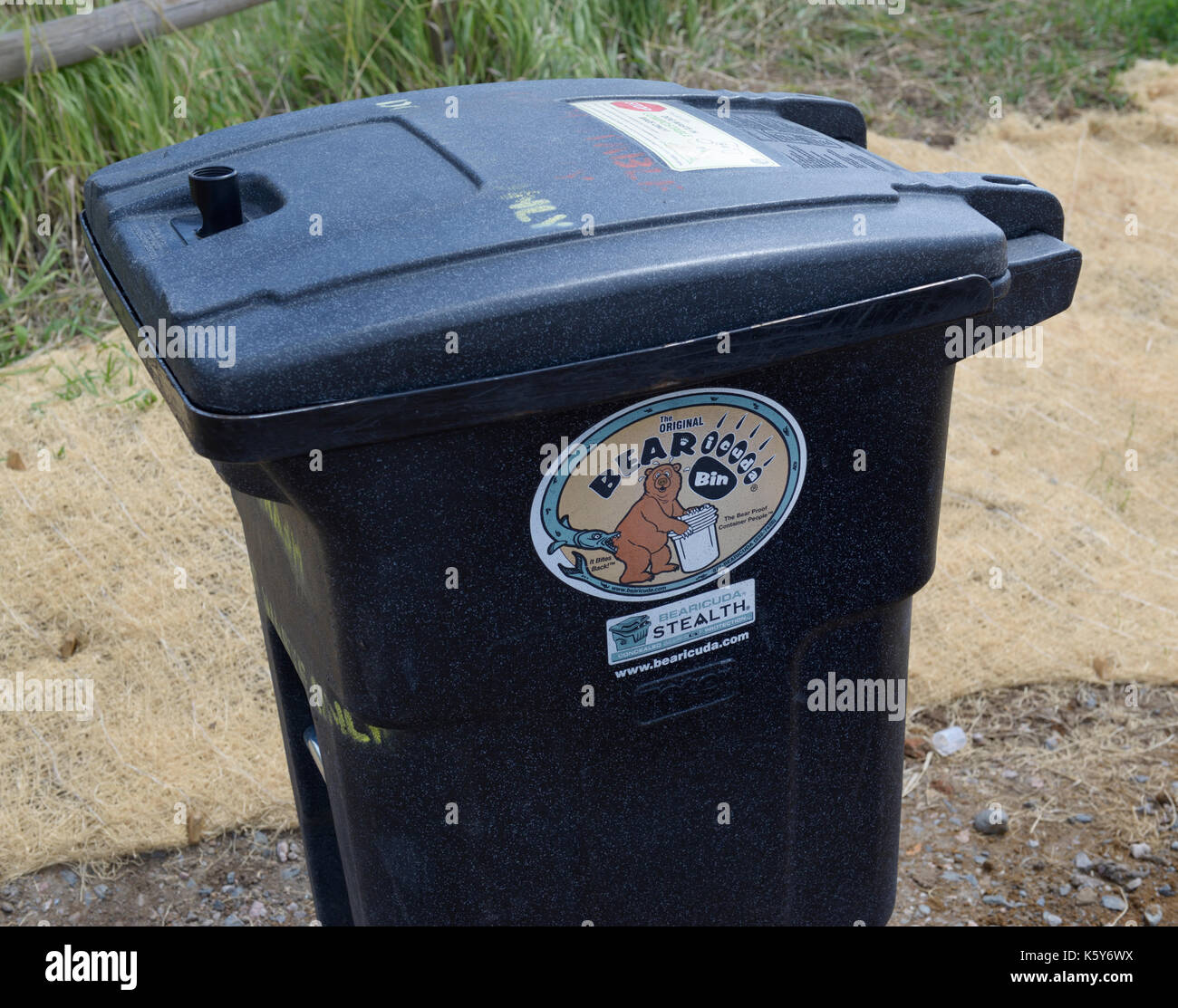 Bear proof garbage bin - Stock Image