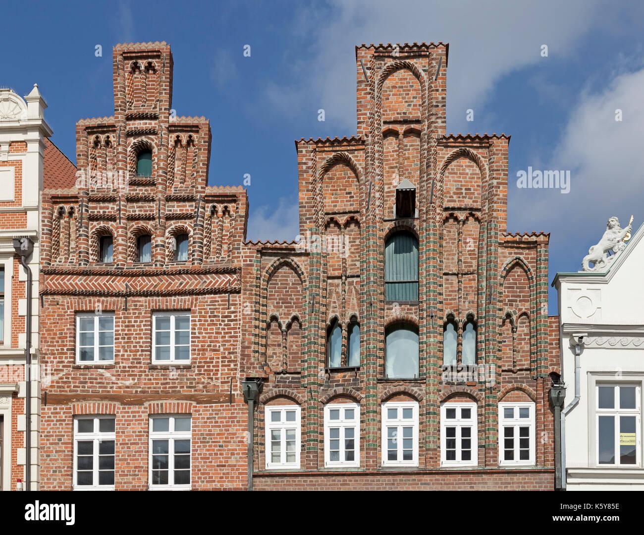 gables, Am Sande, Lueneburg, Lower Saxony, Germany - Stock Image