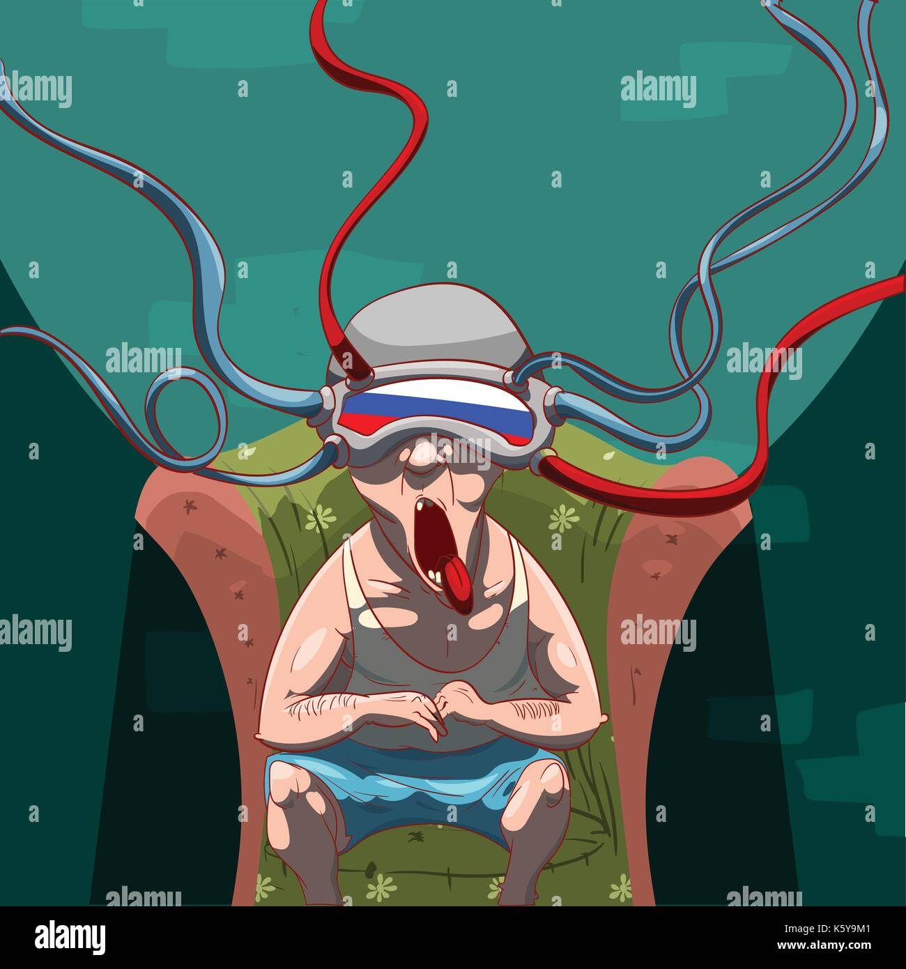 Colorful vector illustration of a man, brainwashed by propaganda with a virtual reality device on his head, watching Stock Vector