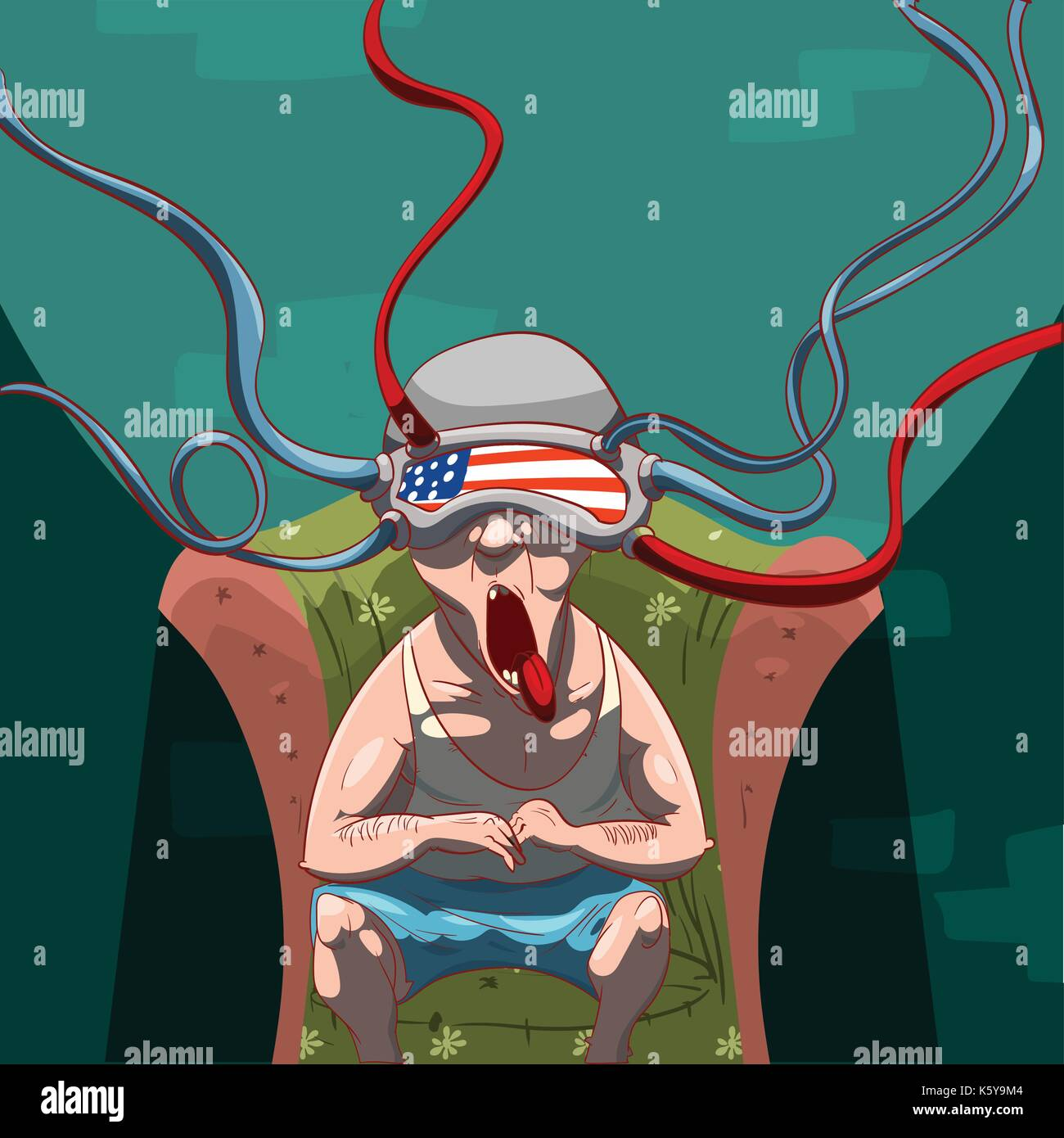 Colorful vector illustration of a man, brainwashed by propaganda with a virtual reality device on his head, watching social media - Stock Vector
