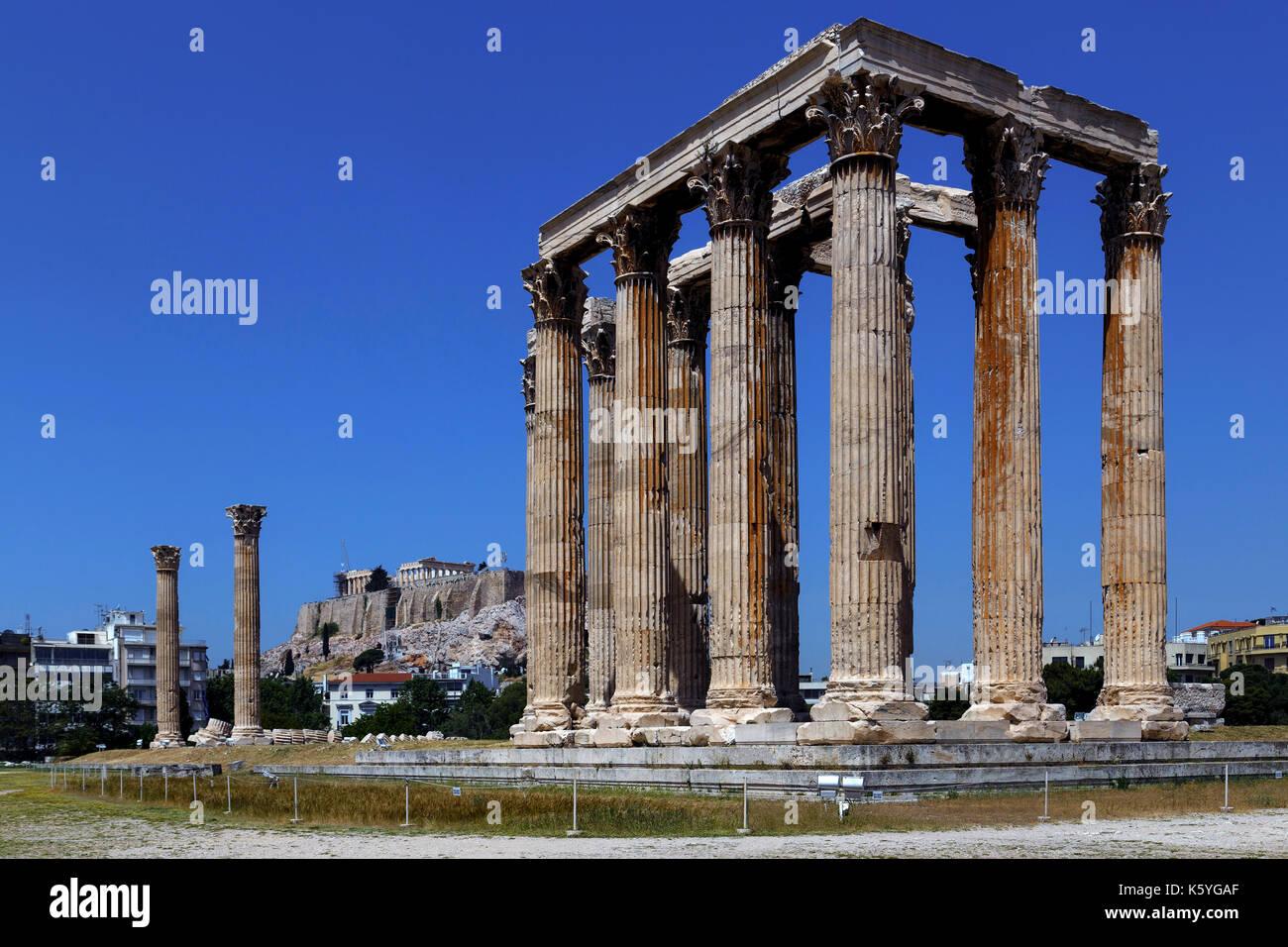 Temple of Olympian Zeus Athens Greece - Stock Image