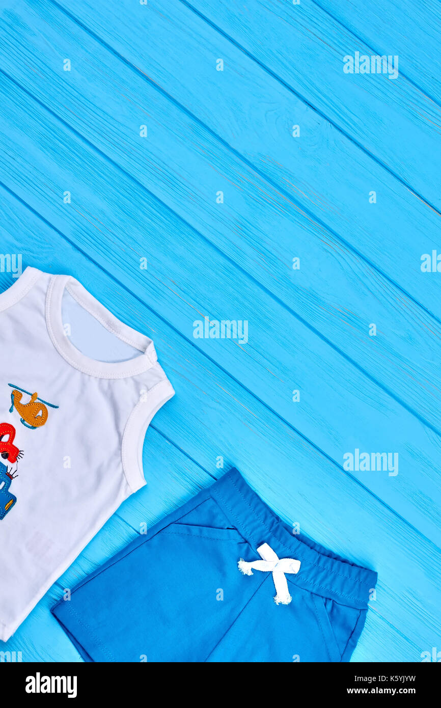 Baby boy summer casual clothes  White t-shirt and blue