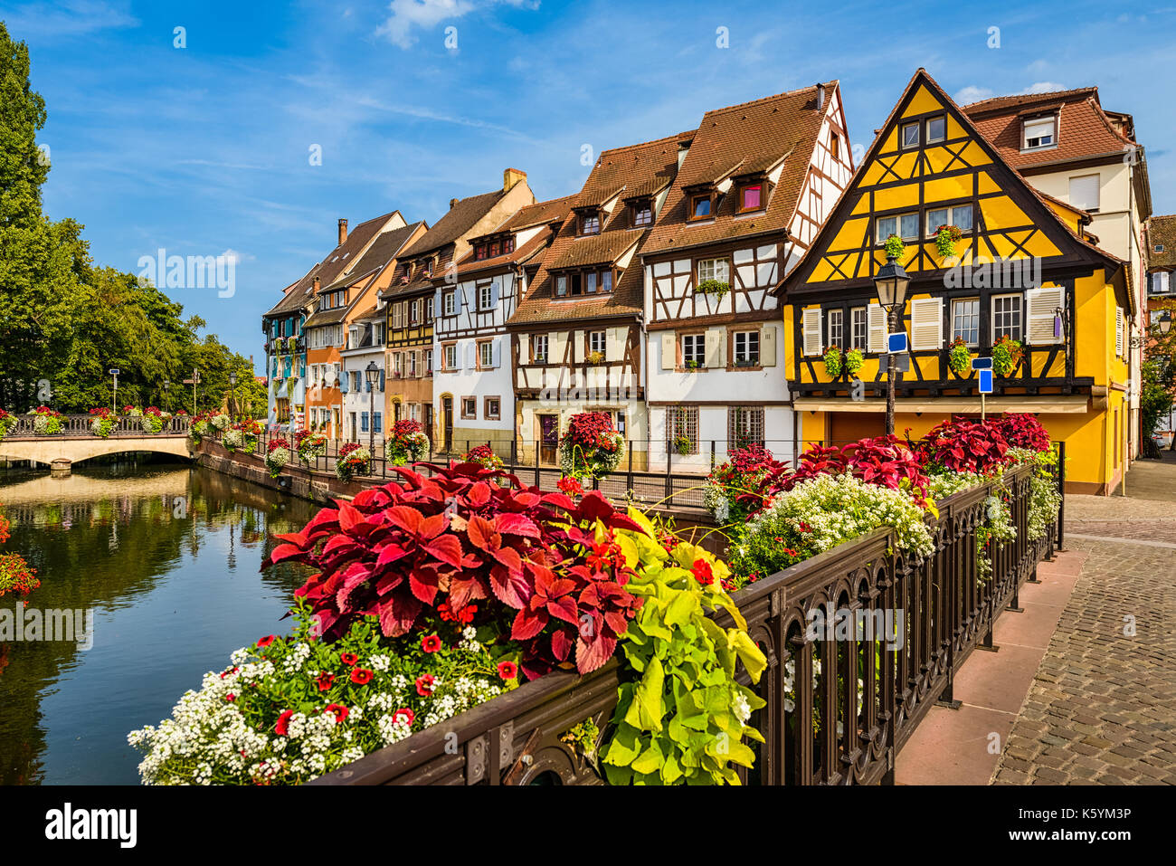 Old town of Colmar, Alsace, France on a sunny day - Stock Image