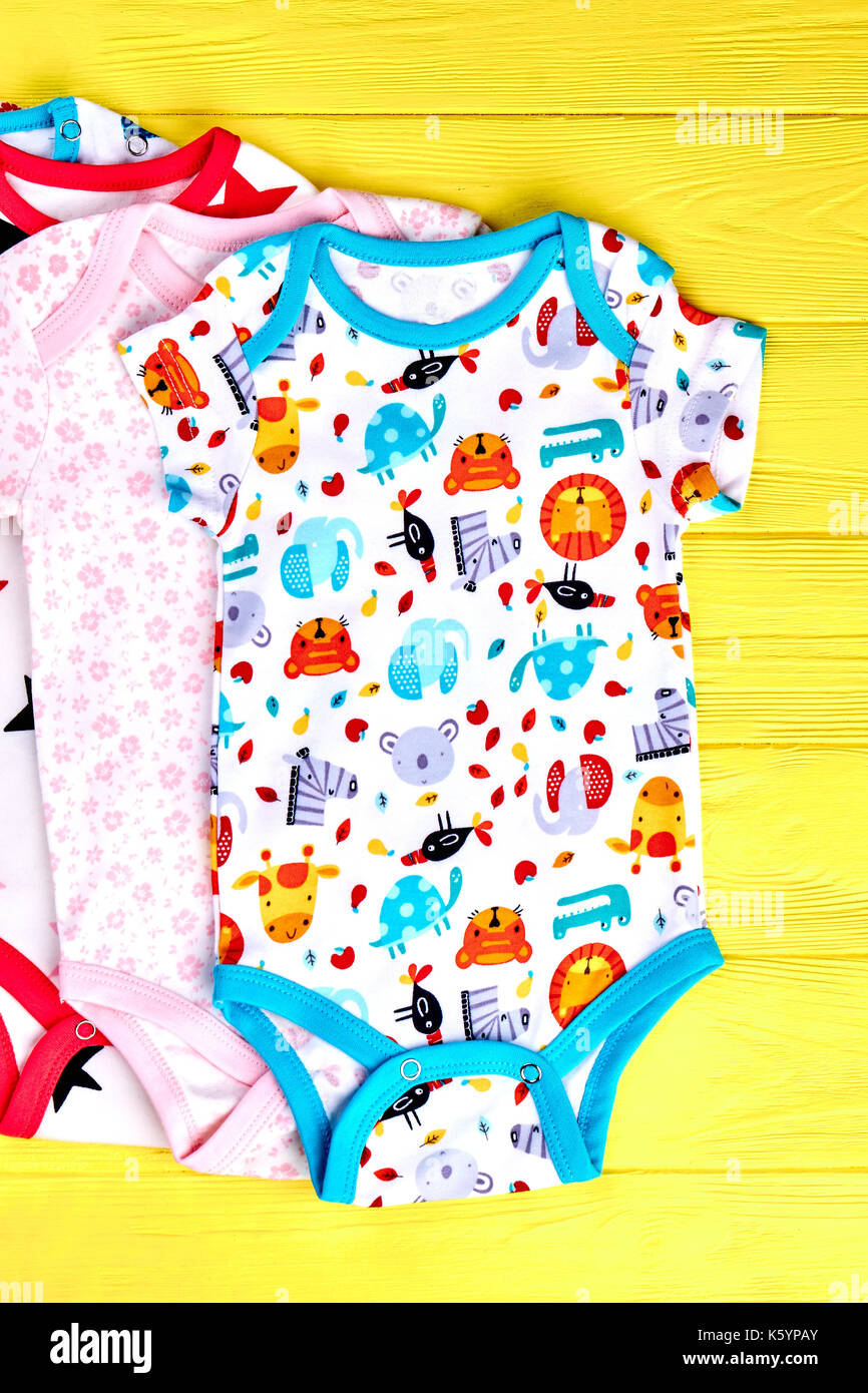875a610d9 Newborn kids set of cotton rompers. Collection of new patterned bodysuits  for infants, yellow