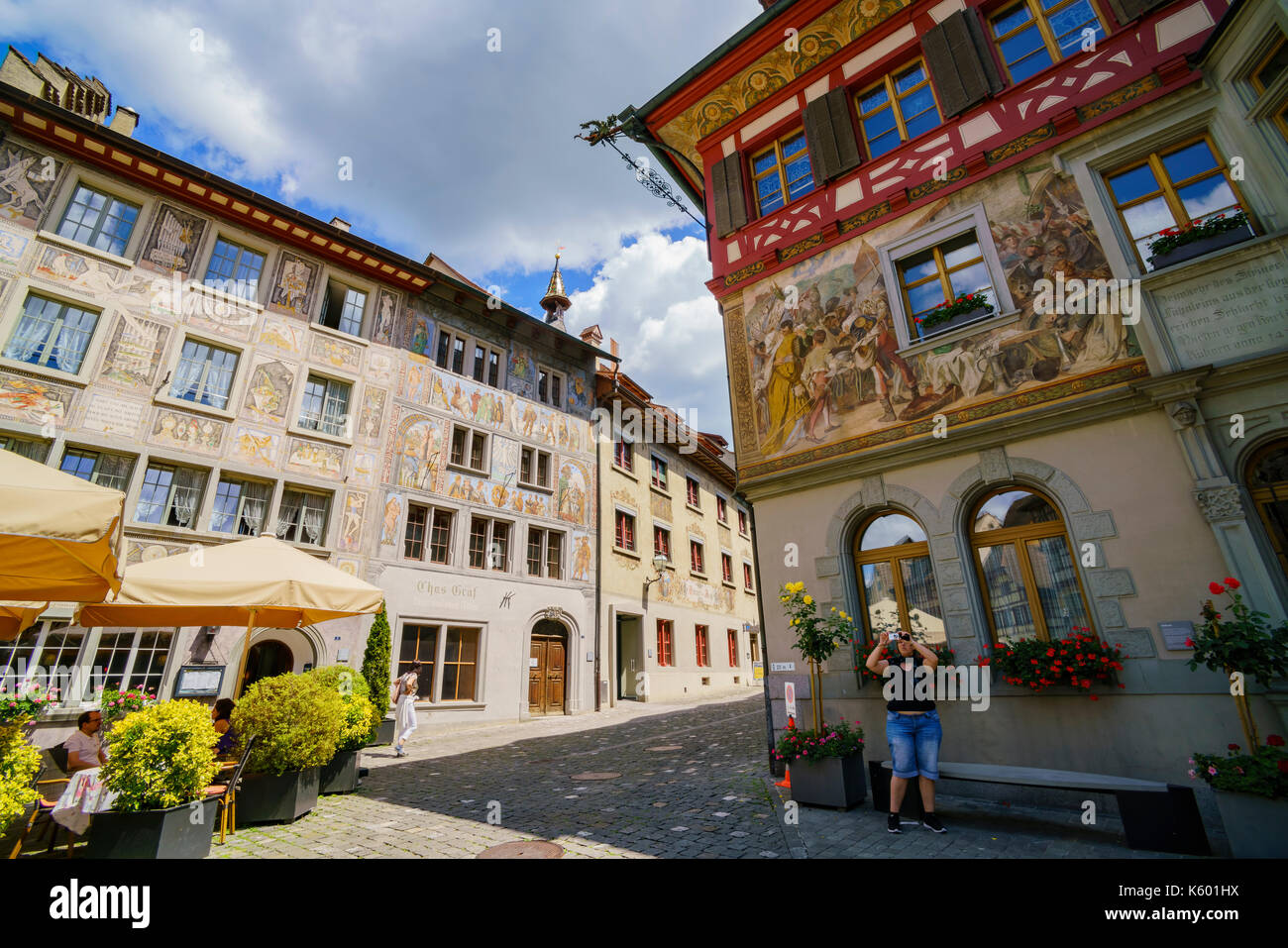 Schaffhausen, JUL 15: House Painted with Frescoes. The beautiful Stein am Rhein is a historic town and a municipality Stock Photo