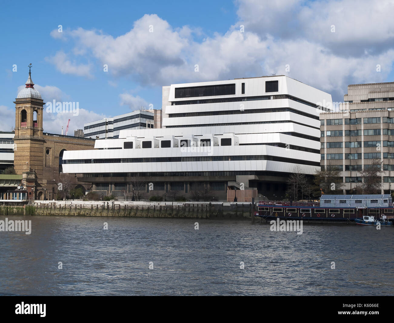 Mondial House - telephone exchange next to Cannon Street Station on the North Bank of the Thames, London (demolished 2006) - Stock Image