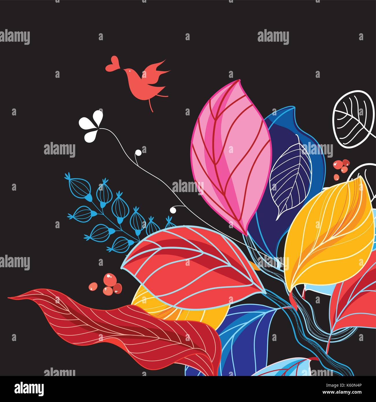 Autumn background with leaves - Stock Vector