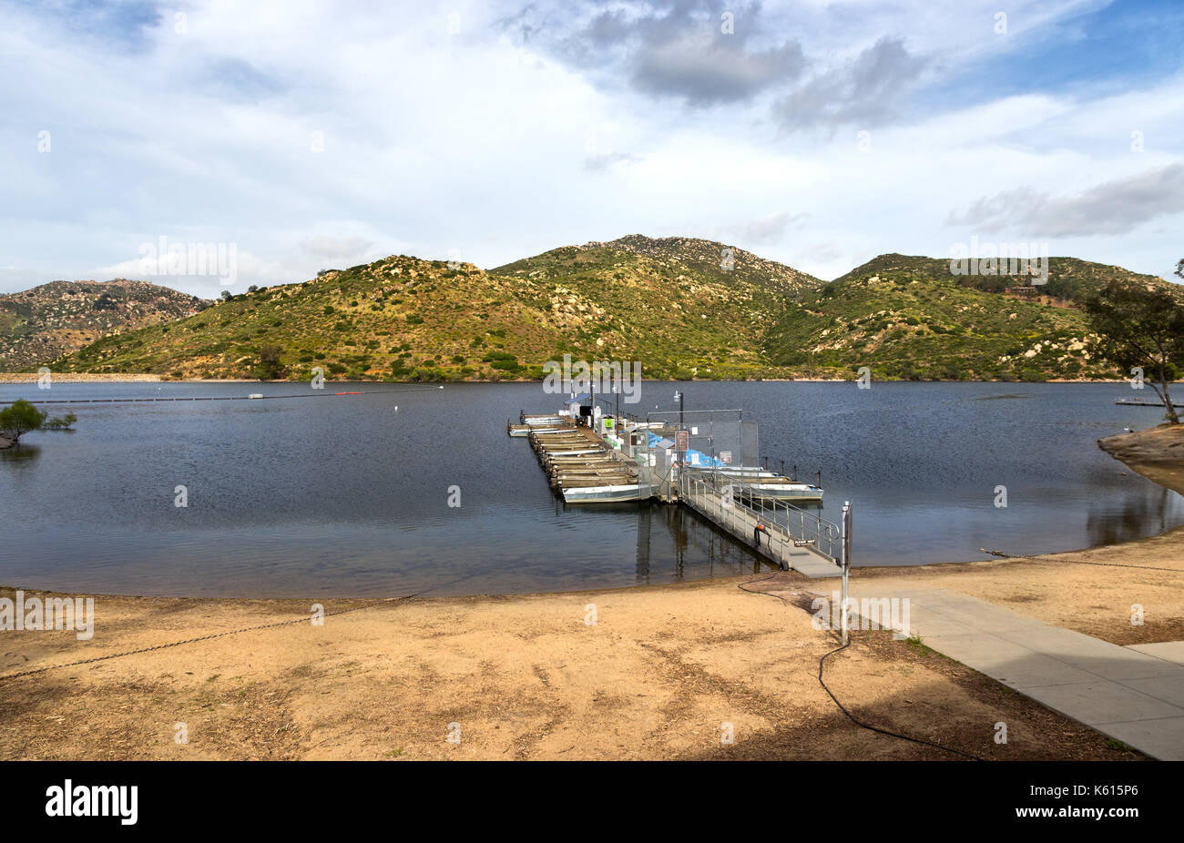 Lake Poway Fishing Dock Recreational Facility and Landscape Inland Mountain View in East San Diego County, California, United States - Stock Image