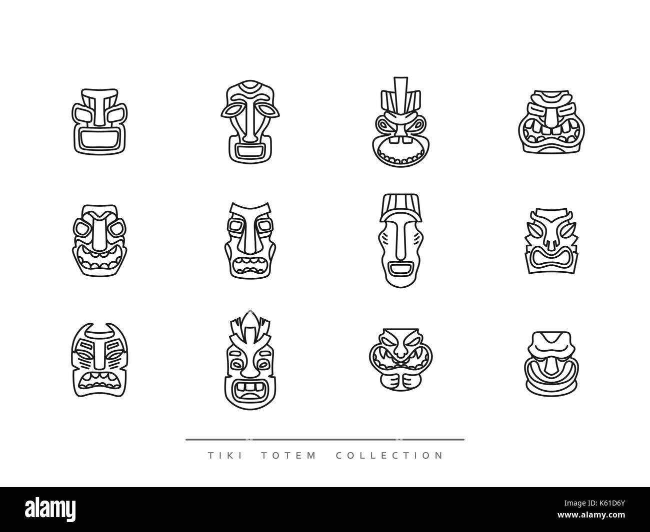 Collection Tiki Totem in linear style vector illustration - Stock Vector