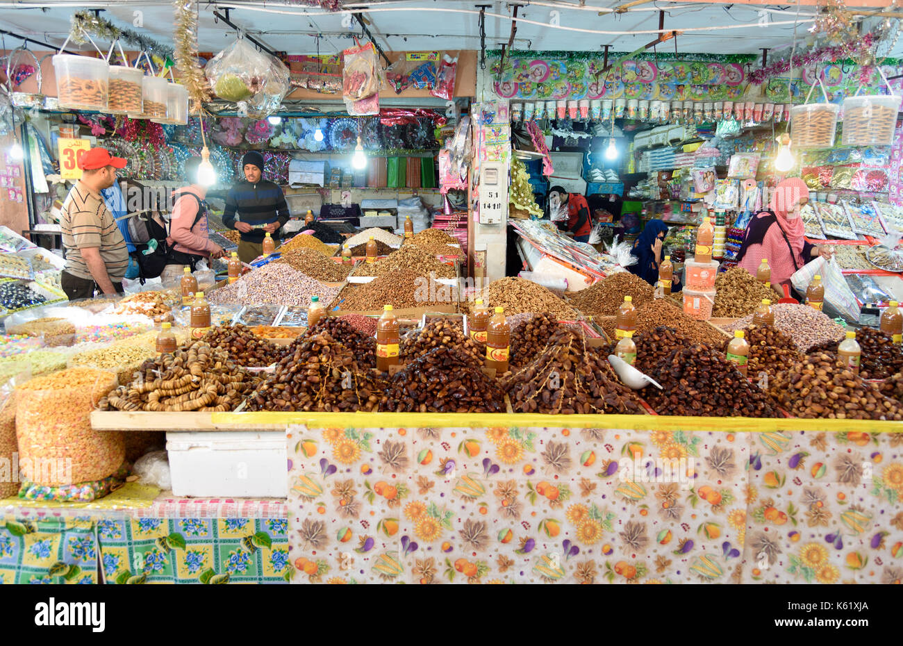 Tiznit. Morocco - December 27, 2016: On local market in Tiznit. Moroccan people buy different products Stock Photo