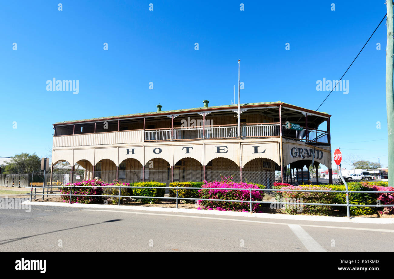 The Grand Hotel is a 100 years old heritage-listed ex-hotel, currently closed for business, Hughenden, Queensland, Stock Photo