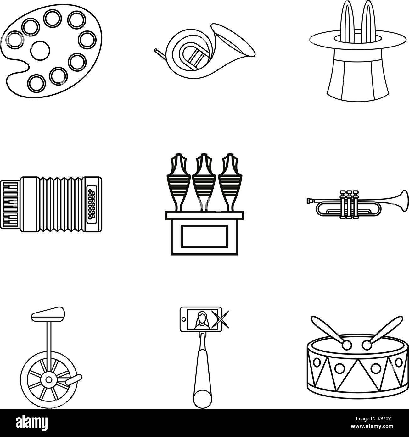 Street circus icons set, outline style - Stock Vector