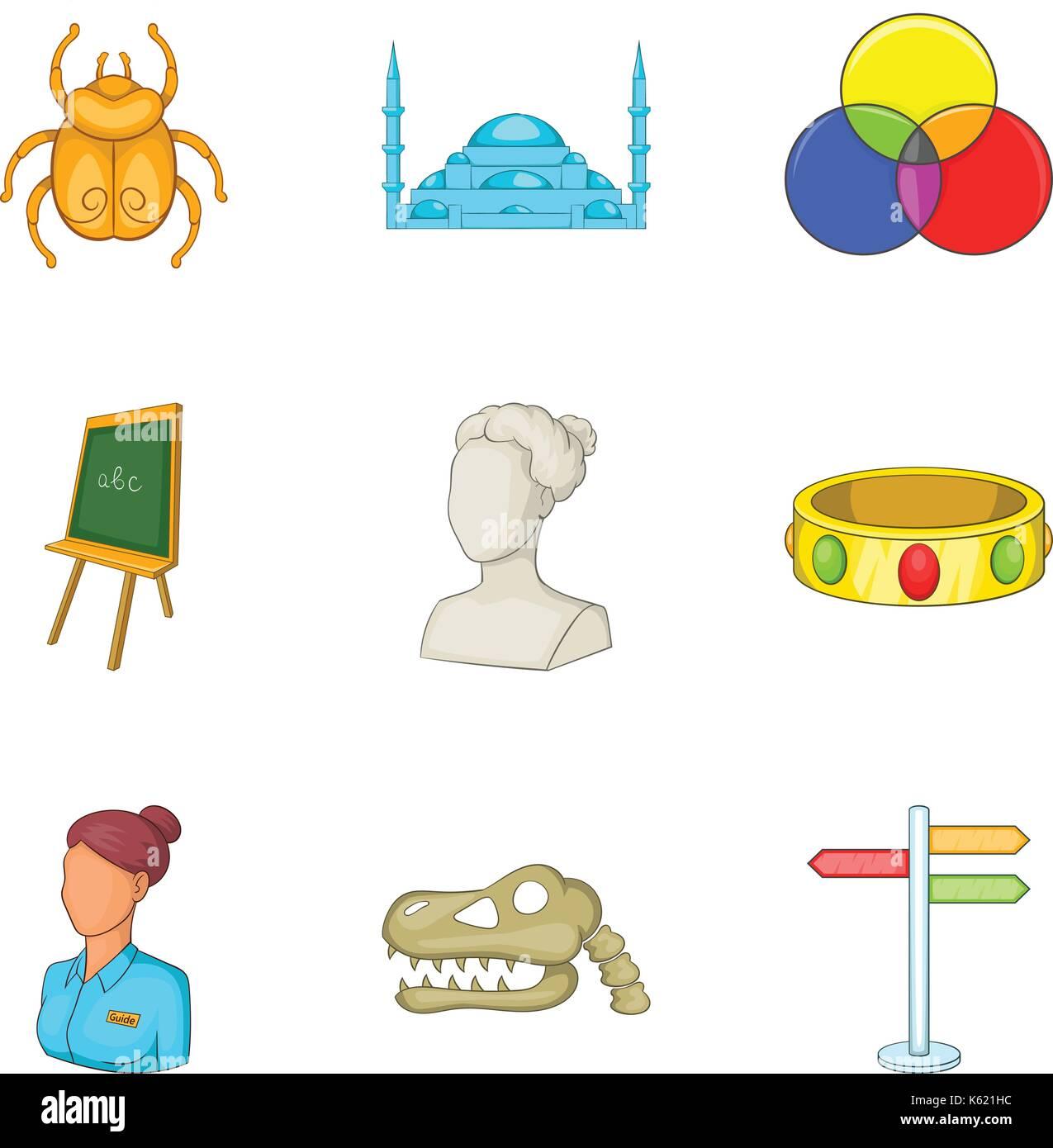 Requisite icons set, cartoon style - Stock Vector