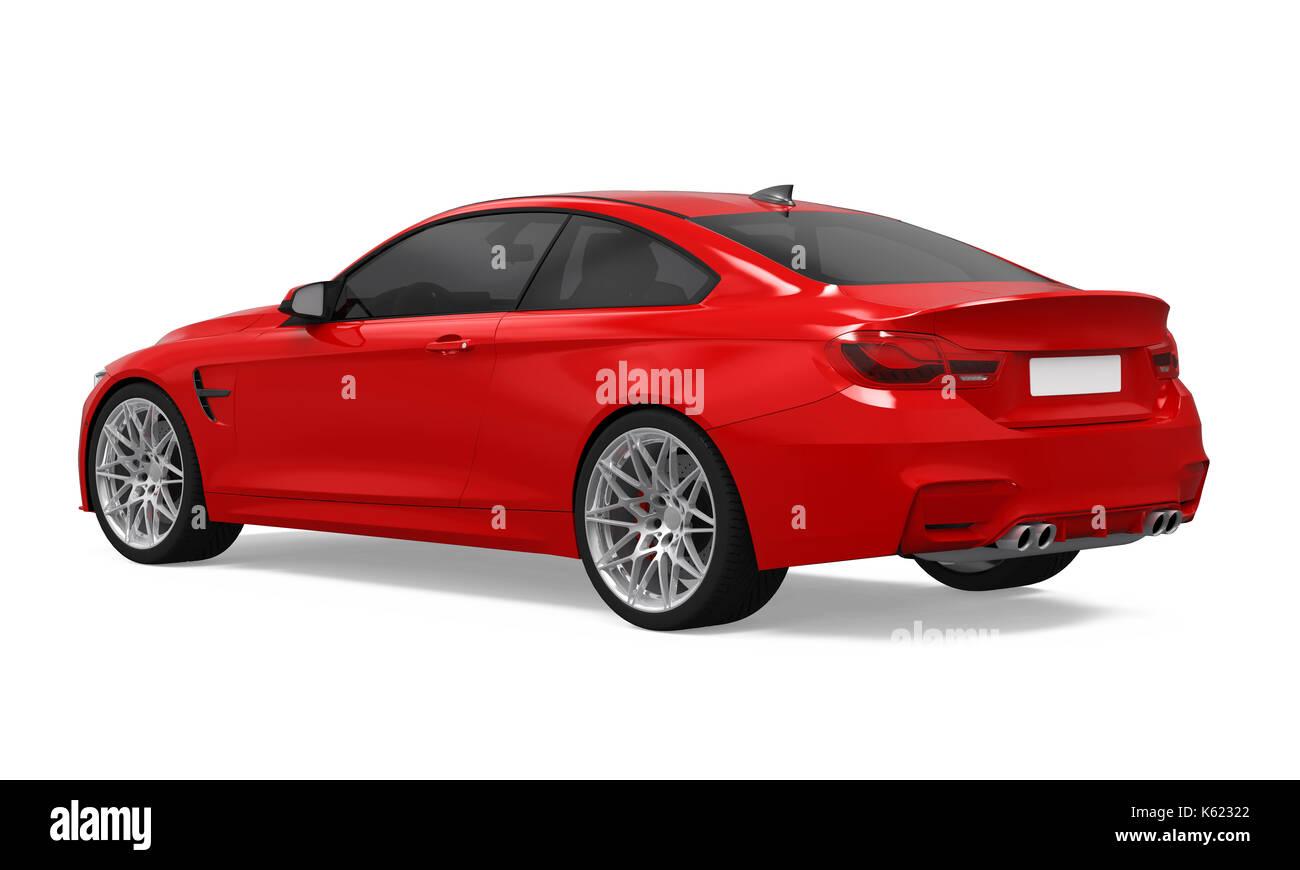 Red Sedan Car Isolated - Stock Image