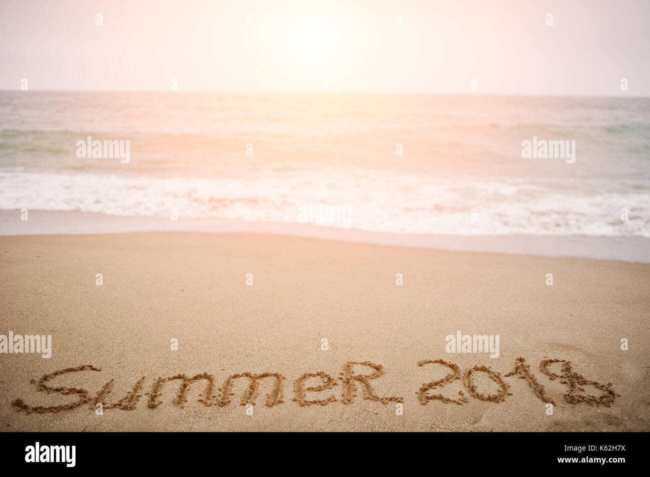 Wonderful Summer 2018. New Year 2018 Is Coming Concept. Sea And Sand.