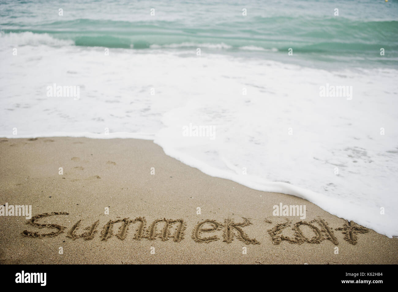 Summer 2017 End. New Year 2018 Is Coming Concept. Sea And Sand.