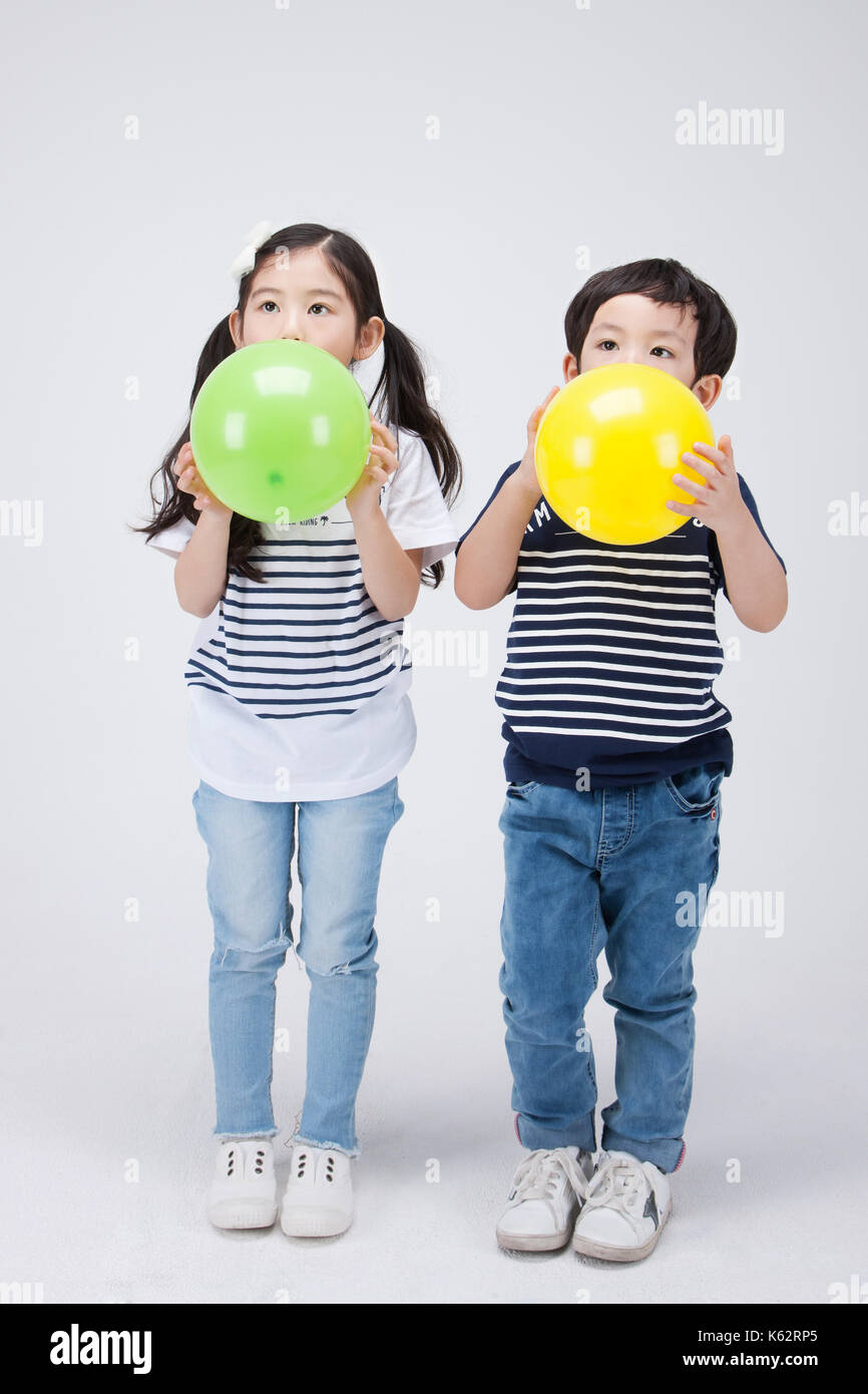 The little girl and boy 248 - Stock Image