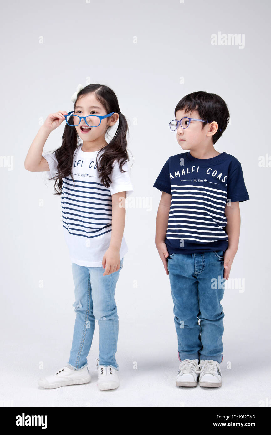 The little girl and boy 280 - Stock Image