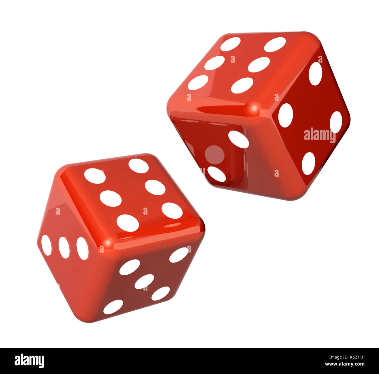 Falling red dice for gambling. Isolated on white background. 3d render Stock Photo