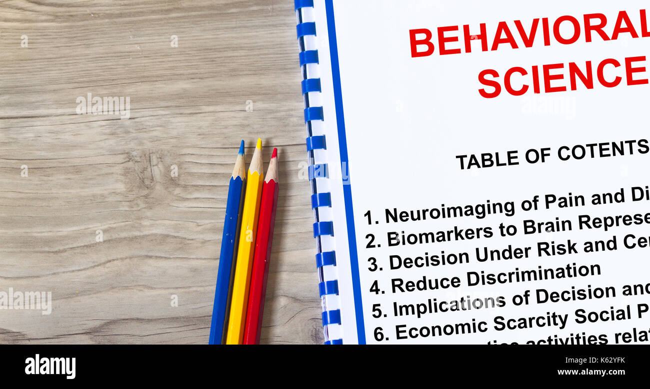 Behavioral Science concept- complete with topics on the cover sheet - Stock Image