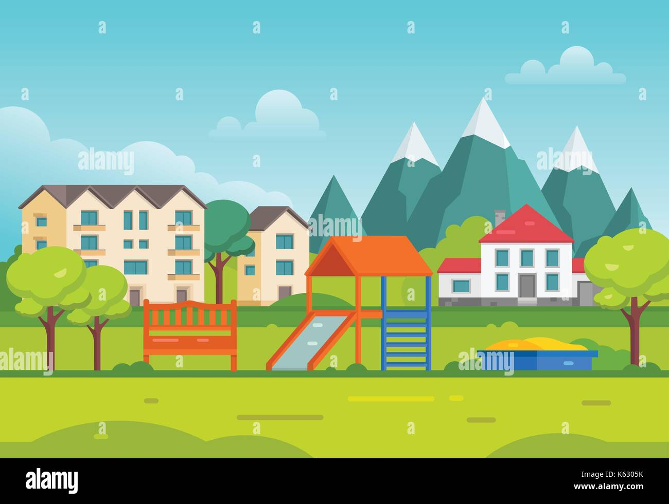 Housing estate with playground by the mountains - modern vector illustration. Peaceful landscape with hills, trees, Stock Vector