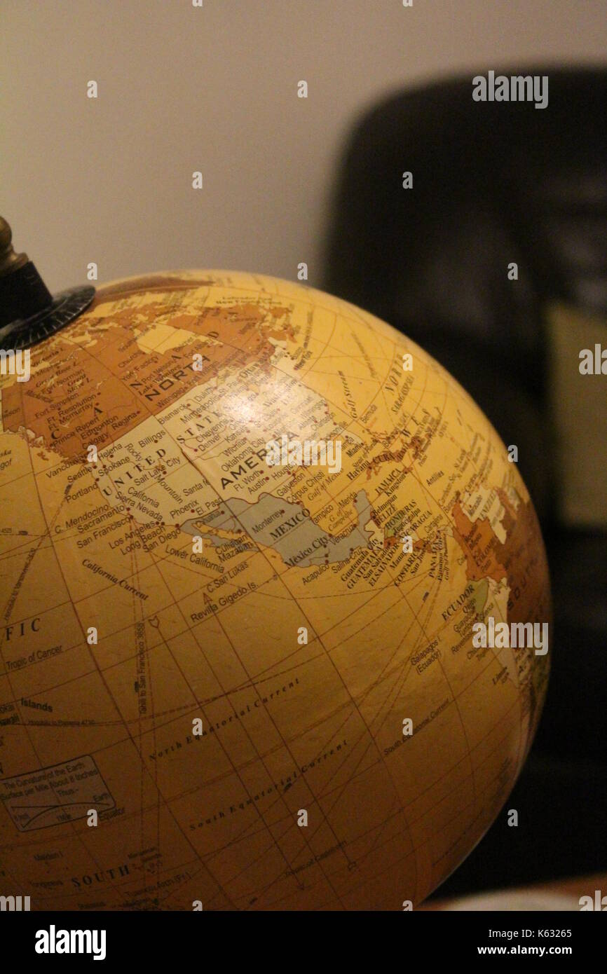 Close up of a globe of - Stock Image