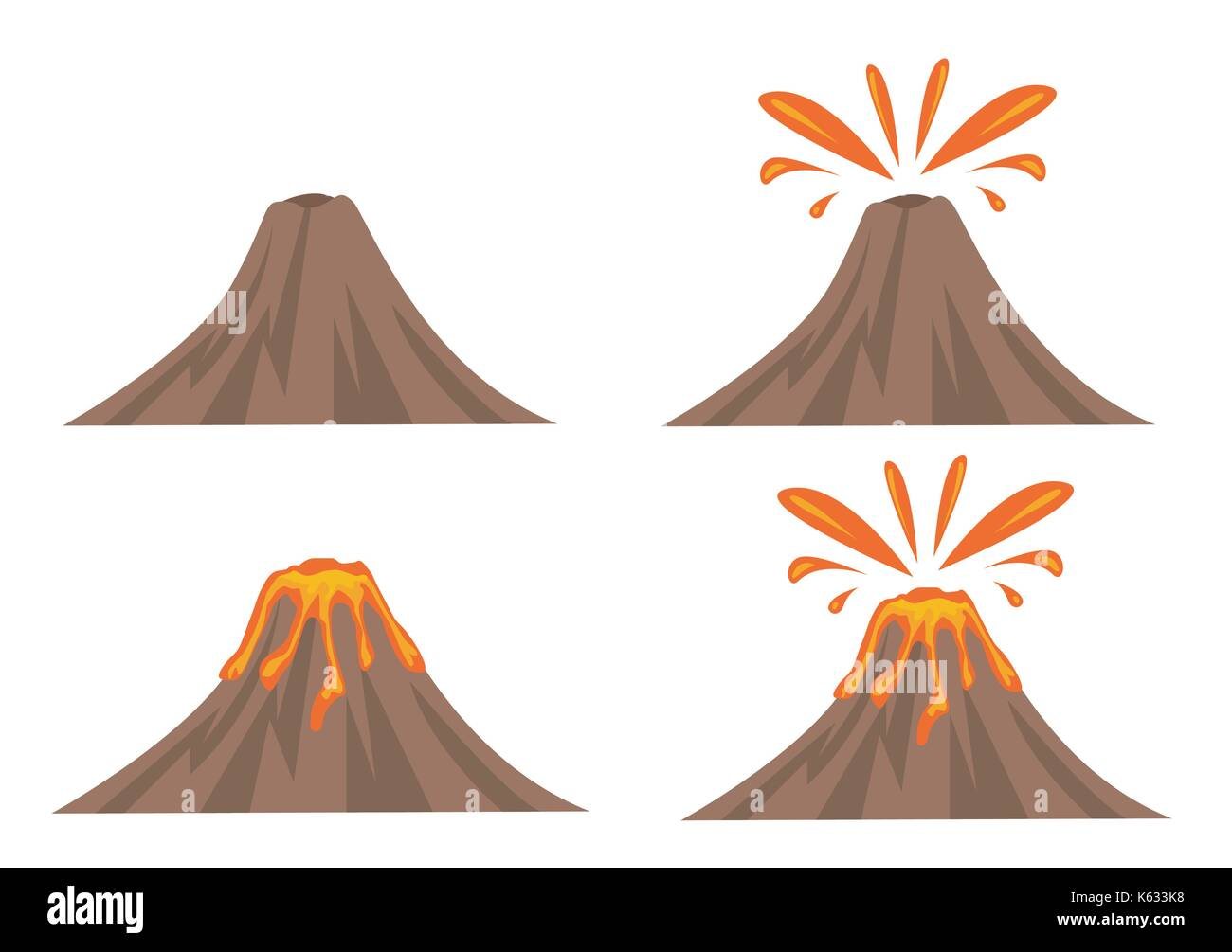 Volcano Icon Set Isolated on White Background - Stock Vector