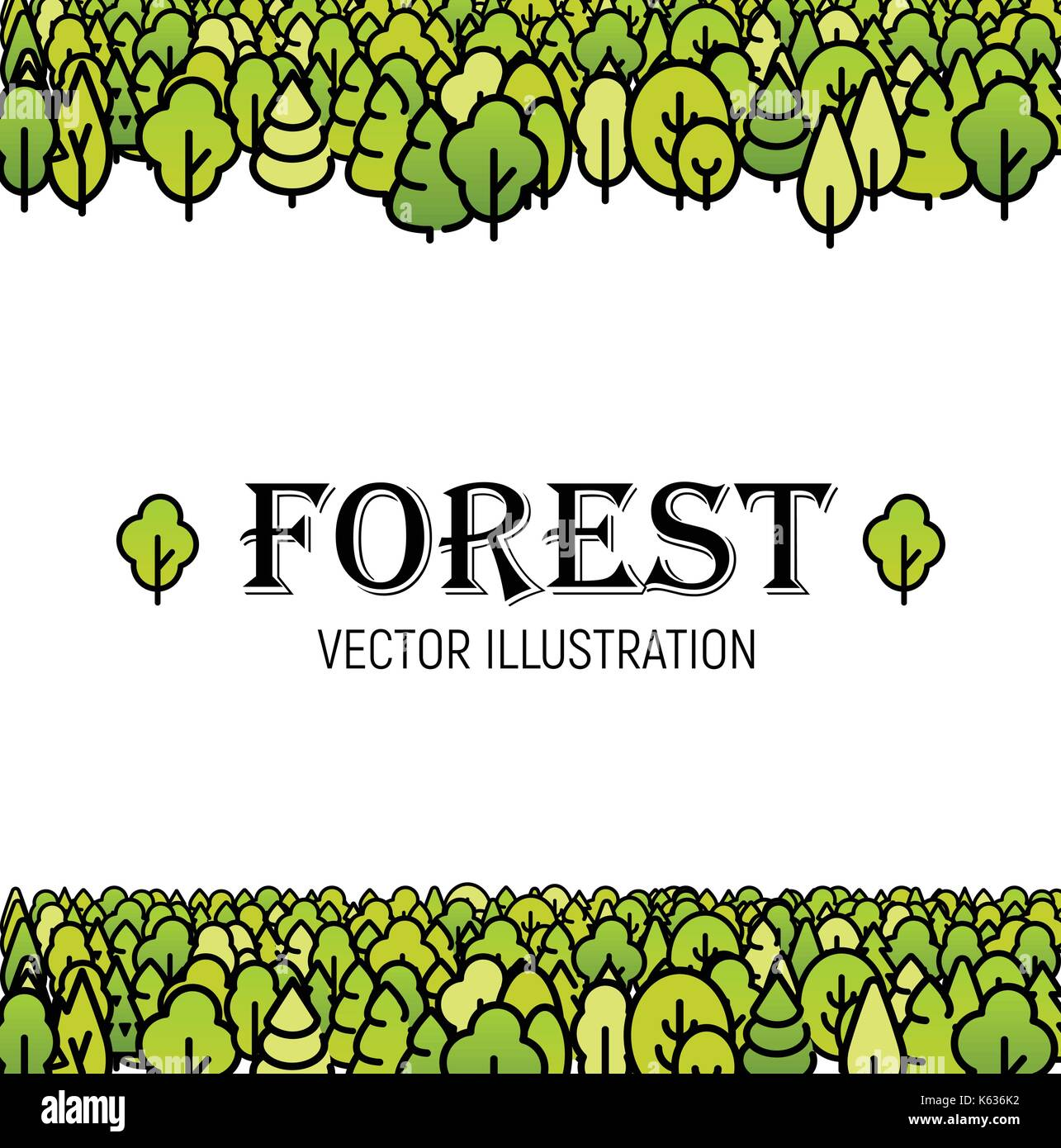Forest green line art trees background vector illustration template print for brochure, card, poster, booklet cover - Stock Vector