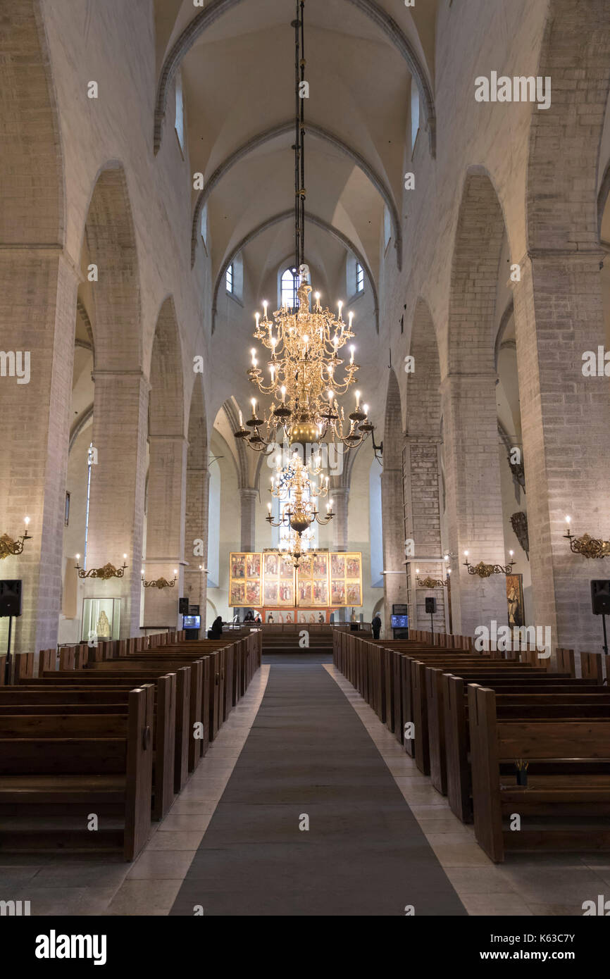Nave of Niguliste Church, Old Town, Tallinn, Estonia, Europe Stock Photo
