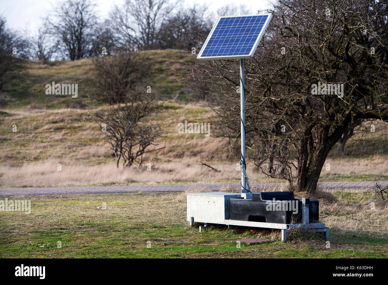 Solar energy unit used for scientific measurements in the Amsterdamse Waterleidingduinen, the Netherlands - Stock Image