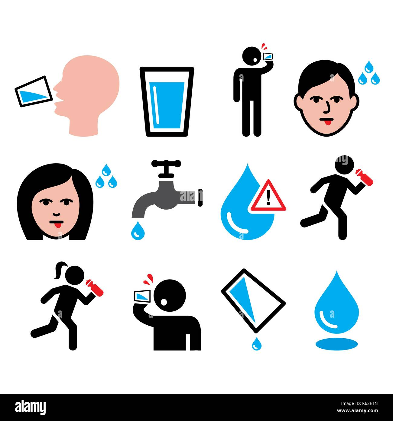 Thirsty man, dry mouth, thirst, people drinking water icons set - Stock Image