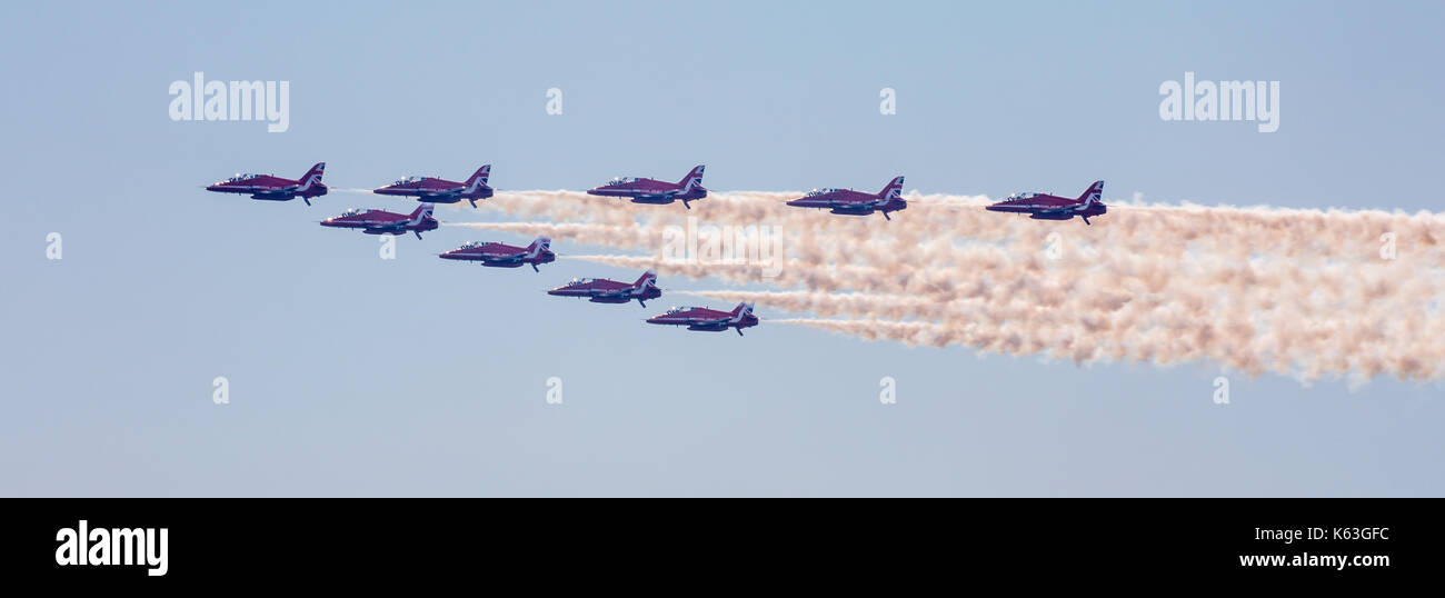 Red Arrows display team at Bournemouth Air Festival, 2017 - Stock Image