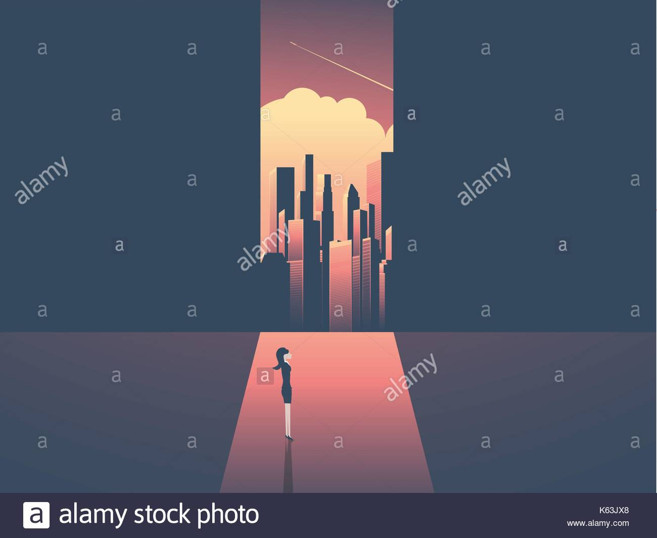 Businessman looking through window at urban skyline. Business ambition, opportunity and corporate world concept vector illustration with cityscape in  - Stock Vector