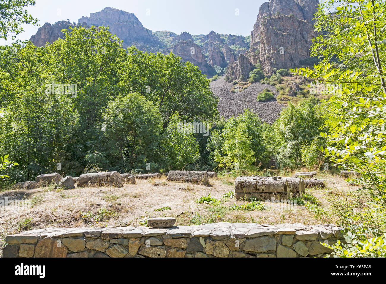 Ancient graves at the Yeghegis Jewish cemetery in Armenia. From the 13th and 14th century. Hebrew inscriptions are clearly visible on some graves. - Stock Image